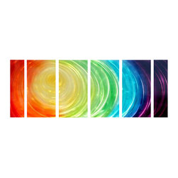 Pure Art - Rainbow Remembrance Metal Wall Art Set of 6 - Create a bold visual impact with this tunnel of extremely vibrant colors. Abstract group adds a modern look to any space. This metal wall hanging group features six panels. Each panel is crafted of hand painted aluminum and given a clear coating of lacquer to ensure lasting good looks. Panels have brackets on the back to safely secure to wallMade with top grade aluminum material and handcrafted with the use of special colors, it is a very appealing piece that sticks out with its genuine glow. Easy to hang and clean.