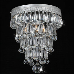 Otis Designs - Cone Shape Matte Silver Flushmount Ceiling Chandelier - Wow your guests with this sparkling flush mount chandelier. Constructed of iron with clear crystals that appear to drip off the base like rain,this cone chandelier has a modern yet sophisticated glamour. It requires one 60-watt light bulb.