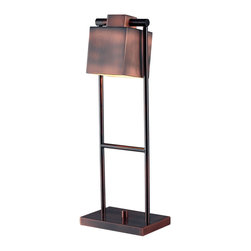 Kenroy Home - Kenroy 32000VC Crimmins Desk Lamp - A ladder-like base is easily adjusted to get the best results from Crimmins' squared shade.  The rich Vintage Copper finish beautifully captures the light.