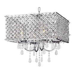 "The Gallery - Modern Chrome / Crystal 4-Light Square Chandelier - 100% Crystal Chandelier. A great European tradition. Nothing is quite as elegant as the fine crystal chandeliers that gave sparkle to brilliant evenings at palaces and manor houses across Europe. This beautiful chandelier has 3 Lights and is decorated and draped with 100% crystal that capture and reflect the light of the candle bulbs. The timeless elegance of this chandelier is sure to lend a special atmosphere anywhere its placed. Assembly required. W 16"" x h 21"" 4 Lights. this item also works with energy efficient bulbs, halogen bulbs, compact fluorescent bulbs, LED bulbs etc. (Not included)."