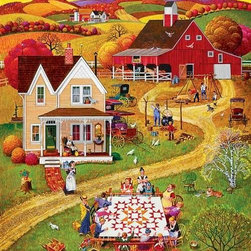 Quilting Bee's Puzzle - 500 Piece Jigsaw PuzzleQuilting Bee's 500 piece jigsaw puzzle has all the charm of old time America. This puzzle provides challenge in two ways: through color as well as the shape of repeated patterns found throughout this pastoral scene. The long, graceful curves of hills and winding farm road complement the sharply edged squares and triangles found in peaked roofs, rectangular windows, or even the sharp points of this star quilt pattern. Touches of bright white, barn red, and soft mossy greens carefully blend the challenge of shape and pattern with color.