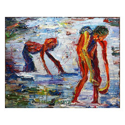 """M799 - Original Oil Painting Of Beach Surf Figures, Original, Painting - Original oil painting on gallery wrapped stretched canvas of 24 by 30 by 3/4 in. (76.2 cm by 61 by 1.9 cm.). two figures in surf (cat. ref. m799) to see video of this painting, search on youtube for: """"original oil painting m999"""". thick impasto oil paint. abstract art realism beach nude females"""