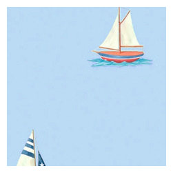 York Wallcoverings - Blue Sailboats Nautical Sailing Accent Decor Wallpaper Roll - Features: