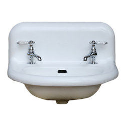 """Consigned Refinished Vintage White Rolled Rim Cast Iron Porcelain Bath Sink 21"""" - Vintage White Rolled Rim Cast Iron Porcelain Bath Sink 21 x 17 Refinished in Bright White includes New Faucet, Chain & Stopper and Drain"""