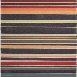 Jaipur - Colours Black and Red Rectangular: 5 Ft. x 7 Ft. 6 In. Rug - - Bring visual �pop� to outdoor living with the Colours I-O Collection. This energetic range of stripe, zigzag and stair-step designs bring together a myriad of multicolor palettes � all in durable, hand-hooked polypropylene construction. With its fashion-forward styles and bold scale, each design can function in a broad range of contemporary and transitional spaces � both indoor and out  - Cleaning and Care: Polyester is dirt and stain resistant and will look great for a long time just by vacuuming regularly. Dries fast so deep steam/rug cleaning works great to release dirt from fiber. If spills occur blot immediately. Use rug/carpet cleaners that are safe on synthetic fibers. Use professional cleaning agents only. To vacuum use an attachment arm or suction only to remove dirt particles  - Backing Material: Latex  - Companion Item: Rug Pad  - Pile Height: 0.25  - Construction: Indoor-Outdoor  - It is Sustainable  - Durable  - Easy Care  - Looped Pile  - Stripe Jaipur - RUG101258