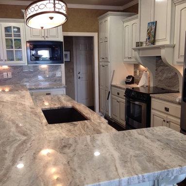 Kitchens - Fantasy Brown marble countertops. Install by PermastoneTulsa. Natural stone from Levantina Dallas. Marble kitchen, kitchen island.