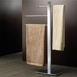 """3-Rung Chrome Towel Stand - Free standing towel rack made of stainless steel and brass with a chrome finish. Towel stand with 3 sliding rails designed by Gedy in Italy. Width:15.9"""" Height:36.22"""" Depth:6.3"""""""