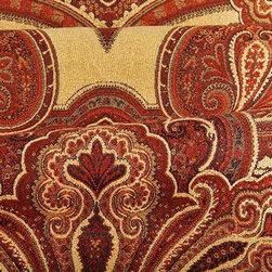 "Bal Raj Upholstery Fabric in Rust - Bal Raj in Rust is a damask upholstery fabric with a paisley-like theme that creates a bold, dramatic look for interior designs. Available online by the yard, this design center fabric is available at a huge discount. Allow the dramatic pattern and rich colors to transport your home to mystical, unexplored areas. Italian made from a blend of 29% Viscose, 4% Polyester, 60% Linen, and 7% Cotton. Width: 60.75""; Repeat: 30.75"" L."