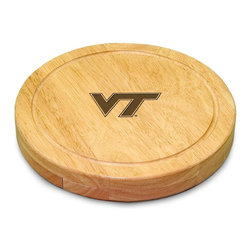 "Picnic Time - Virginia Tech Circo Cheese Board - The Circo by Picnic Time is so compact and convenient, you'll wonder how you ever got by without it! This 10.2"" (diameter) x 1.6"" circular chopping board is made of eco-friendly rubberwood, a hardwood known for its rich grain and durability. The board swivels open to reveal four stainless steel cheese tools with rubberwood handles. The tools include: 1 cheese cleaver (for crumbly cheeses), 1 cheese plane (for semi-hard to hard cheese slices), 1 fork-tipped cheese knife, and 1 hard cheese knife/spreader. The board has over 82 square inches of cutting surface and features recessed moat along the board's edge to catch cheese brine or juice from cut fruit. The Circo makes a thoughtful gift for any cheese connoisseur!; College Name: Virginia Tech; Mascot: Hokies; Decoration: Laser Engraving; Includes: 1 Hard cheese knife, 1 Cheese shaver, 1 Fork-tipped cheese knife, 1 Cheese spreader"