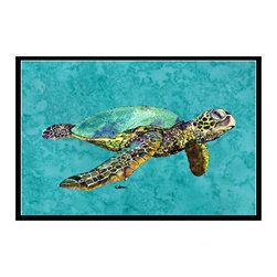 Caroline's Treasures - Turtle Indoor Or Outdoor Mat 24X36 Doormat - Turtle Indoor / Outdoor Mat 24x36 - 24 inches by 36 inches. Permanently dyed and fade resistant. Great for the front door or the back door.  Use this mat inside or outside.    Use a garden hose or power washer to chase the dirt off of the mat.  Do not scrub with a brush.  Use the Vacuum on floor setting.  Made in the USA.  Clean stain with a cleaner that does not produce suds.