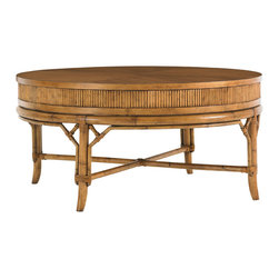 Lexington - Lexington Beach House Oyster Cove Round Cocktail Table 540-943 - The lightly distressed golden umber finish on Quartered Mango veneers is the centerpiece of the family room when enjoying the 43-inch diameter cocktail. Throw some pillows on the floor and gather the family for a board game or cards.