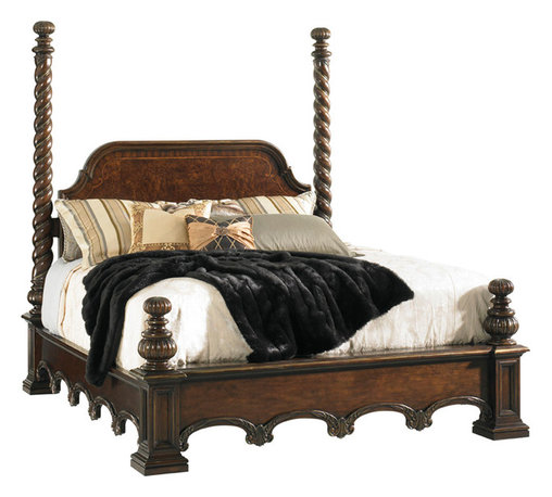 Lexington - Lexington Florentino Vittorio Poster Bed 900-175C - Towering spiral posts and gracefully sweeping lines elegantly blend to create a bed that truly evokes a sense of grandeur and permanence, filling a room with a timeless sense of majesty and grace. Inlaid Ebony details serve as an elegant frame for the Brazilian walnut burl headboard. Four 9-inch carved post extensions complete the grand presence of the Vittorio Poster Bed.