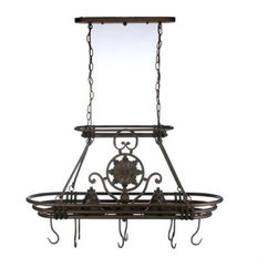 Dorada Lighted Pot Rack - The Dorada Pot Rack combines modern and rustic styling to create a beautiful fixture. This iron filigree rack with bronze finish has two 50-watt downlights (PAR 20 bulbs are recommended) to illuminate your kitchen island or workspace. Three stacking iron ovals are the ideal place to hang your cookware with the eight included pot hooks. This pot rack comes complete with eight hooks two 10-foot wires and two 3-foot chains. The centerpiece is removable for a more subtle approach to design. Simple assembly required.