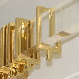 Rectangular acrylic drapery hardware - Rectangular acrylic drapery rod and brass rings