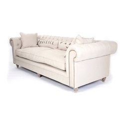 Kathy Kuo Home - Alaine French Country 'Provence' Chesterfield Nail Head Sofa - Provence or Paris?  This classic French chesterfield sofa would be perfect in either location - or any space inspired by the timeless grace and easy elegance that make French Country style so appealing.  Four pillow invite serious relaxation.