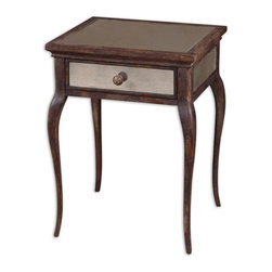 Old World Mirrored End Table - *Sun washed, natural wood in time worn shades of wheat and russet, with a French dovetail drawer and antiqued mirrors on top, sides and back.