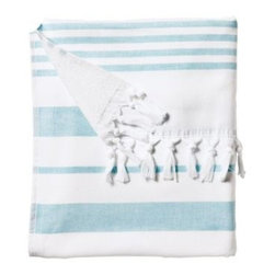 Serena & Lily - Fouta Beach Towel Aqua - Woven in the tradition of fine Turkish towels, our version combines smooth cotton on one side with looped cotton terry on the other for added wicking. The generous size is a luxury; stripes and tassels bring a sense of style to the bath. And it gets loftier and more divine with each wash. At 425 grams, it's just the perfect weight and absorbency for those trips to the beach.