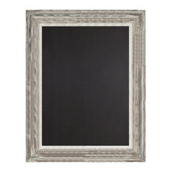 Enchante Accessories Inc - Decorative Framed Chalkboard / Black Board Sign 24 in. x 36 in.  Distressed Whit - Natural wood framed chalkboard / black board sign