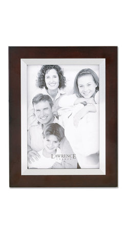 Lawrence Frames - Walnut Wood 11x14 with Silver Metal Inner Bezel Picture Frame - Contemporary walnut brown wood picture frame with silver metal inner bezel.  High quality black wood backing with an easel for vertical or horizontal table top display, and hangers for vertical or horizontal wall mounting.    Hand finished 11x14 wood picture frame is made with exceptional workmanship and comes individually boxed.