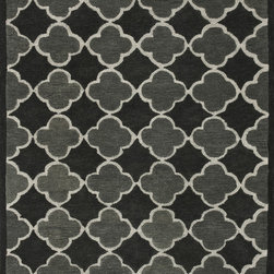 "Loloi - Loloi Brighton BT-05 (Black, Grey) 9'3"" x 13' Rug - There are geometric rugs and then there is the striking Brighton Collection, which sets the new standard for boldly patterned rugs. Hand-tufted in India of 100% wool, these carefully selected yarns are hand-dipped into rich dye lots, producing lively colors that pair fabulously with bold geometric patterns. On the surface, cut and loop pile combine to create varying heights and textures for added visual interest, which creates a sense of dimension unavailable in many other geometric rugs. Available for a value-oriented price, Brighton proves eye-catching design and great price does not have to be mutually exclusive."