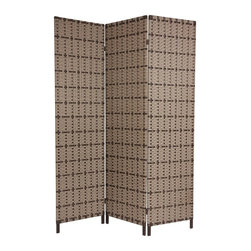 Oriental Furniture - 6 ft. Tall Tropical Outdoor Screen - This heavy duty, industrial quality outdoor screens is one of the toughest, most durable room dividers available, with simple, warm, earthy style elements. It's a great solution for constant use inside or outside.  Buy two and set right next to each to provide as much privacy as a six panel screen, but lighter and more portable.