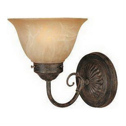Designers ountain - Warm Mahogany And Tea Stained Alabaster Glass Wall Sconce - Condition: New - in box