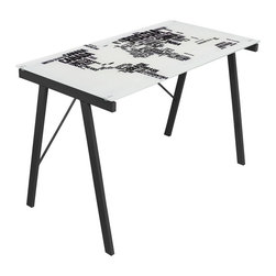 Lumisource - World Map Office Desk - Rectangular shape. Tempered and printed glass top. Unique world map print. Sturdy metal frame. Can be used as drafting table. Black and white color. Assembly required. 44.50 in. W x 22.75 in. D x 28.75 in. H (36 lbs.)