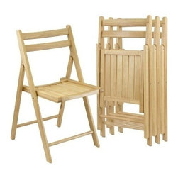 Winsome Wood - Folding Chairs, Natural Finish, Set of 4 - This Chairs is made up of solid wood and comes in natural finish. It has traditional styling with curved back and slatted seat for comfortable seating. Chairs fold for easy storage when not in use.