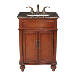 "Stufurhome - 26"" Prince Single Sink Vanity with Baltic Brown Granite Top - Classic single sink vanity"
