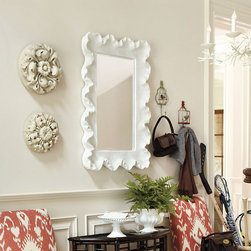 Ballard Designs - Atoll Rectangular Mirror with Clear Glass - Crafted of urethane. Clear mirror. Antique white finish. Hang either way. Inspired by a piece of sun-bleached coral, the ruffled rectangular frame is perfectly sized for a guest bath vanity or powder room.Atoll Mirror features: . . . .
