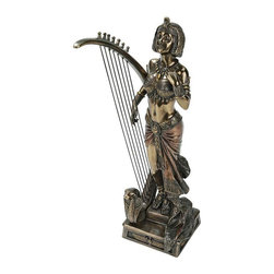 EttansPalace - Ancient Egyptian Apos Musical Harp Statue - You'll long to pluck this sultry Egyptian maiden's beautifully taut strings to make her cobra-headed Renenutet harp resonate with ancient song! Sculpted complete with a winged scarab representing hope, this work of decorative art is cast in quality designer resin with a faux bronze finish and hand-painted highlights. Our is a stunning collectible for the true Egyptophile!