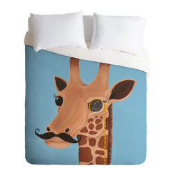 DENY Designs - Mandy Hazell Gentleman Giraffe Duvet Cover - Turn your basic, boring down comforter into the super stylish focal point of your bedroom. Our Luxe Duvet is made from a heavy-weight luxurious woven polyester with a 50% cotton/50% polyester cream bottom. It also includes a hidden zipper with interior corner ties to secure your comforter. It's comfy, fade-resistant, and custom printed for each and every customer.