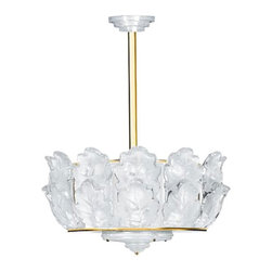Lalique - Lalique Oak Chandelier Large Gilded - Lalique Oak Chandelier Large Gilded 1011699  -  Size: 20.47 Inches Long x 12.6 Inches Tall  -  Genuine Lalique Crystal  -  Fully Authorized U.S. Lalique Crystal Dealer  -  Created by the Lost Wax Technique  -  No Two Lalique Pieces Are Exactly the Same  -  Brand New in the Original Lalique Box  -  Every Lalique Piece is Signed by Hand, a Sign of its Authenticity and Quality  -  Created in Wingen on Moder-France  -  Lalique Crystal UPC Number: 090592101162