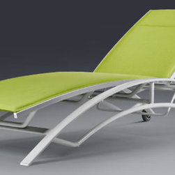 Aqua Chaise Lounge - This chaise has sleek curved lines and a colorful cushion to finish off a bright, contemporary look.