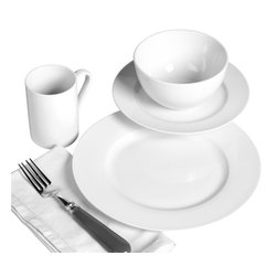 Tabletops Unlimited - 16 Piece Soleil Dinnerware Set - Dishwasher Safe.  Microwave Safe.  Oven Safe up to 400 °F. Material: Porcelain . (4) 10.5 in. Dinner. (4) 8 in. Salad. (4) 5.5 in. Cereal. (4) 10oz MugWhite porcelain Mother Nature's way (no unnatural whiteners or additives). This Soleil 16-piece White Porcelain Round Dinnerware Set is a perfect fit for your healthy casual lifestyle. It's strong enough for everyday use, yet fashionable enough for casual dining and entertaining. Soft round bodies showcase fresh contemporary design for a touch of class that complements any setting and presents beautifully.