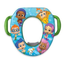 Ginsey Industries, Inc. - Nickelodeon Bubble Guppies Soft Potty Seat - Cushy and secure, this Soft Potty Seat is perfect for your child's potty training. The comfy seat features their favorite TV characters, the Bubble Guppies, which adds a fun and comforting touch to their training. Easy grip handles provide stability.