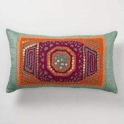 Gather & Glean Pillow, Rectangle - With a lovely combination of cool teal and vibrant orange, this pillow would look great no matter the color scheme of the couch/chair/bed/room. It's a beautifully made piece, especially with all that beadwork and stitching.