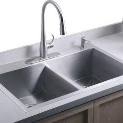 KOHLER - KOHLER Vault Double-Equal Kitchen Sink with Single-Hole Faucet Drilling - KOHLER K-3820-1-NA Vault Double-Equal Kitchen Sink with Single-Hole Faucet Drilling