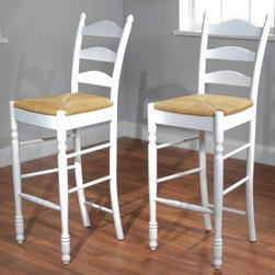 "TMS - 30"" Ladder Back Stool in White (Set of 2) - Traditional design, expert craftsmanship and sturdy construction is what you will enjoy with your set of this ladderback Stool. Constructed of rubberwood finished in white with woven rush seat. Stool also features turned legs and the classic triple slat ladder back. Features: -Set of two ladder back stools. -White finish. -Rubberwood construction. -Woven rush seat. -Assembly required. -Seat height: 30 inches. -Dimensions: 46"" Height x 18.75"" Width x 17"" Depth."