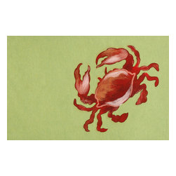 Trans-Ocean - Crab Lime Mats 4154/24 - The highly detailed painterly effect is achieved by Liora Mannes patented Lamontage process which combines hand crafted art with cutting edge technology.The 100% Polyester face, and 100% Recycled Rubber non-skid backing make this suitable for Indoor or Outdoor use and easy to clean.The low profile nature of these Lamontage mats is ideal for use in front of doors or in the kitchen, and the fun designs will bring excitement to any room of the house.