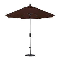 California Umbrella - California Umbrella Patio Umbrellas 9 ft. Aluminum Collar Tilt Patio Umbrella - Shop for Outdoor Patio Furniture at The Home Depot. Designed for convenience value and performance California Umbrella products bring the full weight of our design experience to your table. California Umbrella pioneered and developed the original and revolutionary Collar Tilt feature to tilt your umbrella to any degree you wish while you enjoy the afternoon and evening outside. We still boast the widest tilt degree in the Market allowing you to stay outside longer with your family and friends. Pacifica NEW by California Umbrella is a solution dyed polyester fabric perfected for use with our umbrellas. Our proprietary selection offers tremendous possibilities for color varieties and performance shade fabric. Color: Bronze.