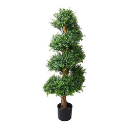 None - Romano 4-foot Indoor/ Outdoor Boxwood Spiral Tree - Enhance your home with this leafy green Boxwood Spiral Tree. Designed with an eye-catching topiary spiral pattern,this wonderful artificial tree keeps its colors when all the rest lose their color and leaves.