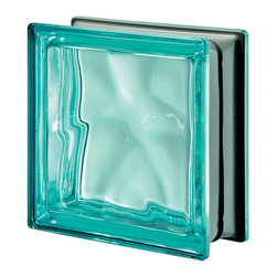 Seves Glass Block - Pegasus Metalized Wavy Glass Block, Turquoise - Ideal for striking interiors and exteriors, Pegasus Metalized is available in smooth and wavy designs with a rich variety of colors. The combination of two exclusive Seves technologies, including actual metalization, gives Pegasus Metalized block its special brightness, lightness and luminosity.