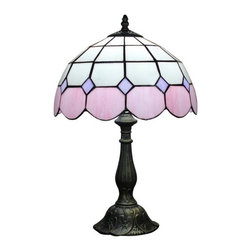 Pink White Stained Glass Meditteranean Style Tiffany Table Lamp - Tiffany style table lamps are widely acknowledged as one of the most beautiful types of lamps. The reasons why its so popular lies in both its brilliant design and superb craftsmanship. This Mediterranean Tiffany table lamp has a simple but attractive profile, creating a romantic atmosphere to your home decor.
