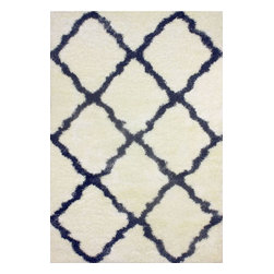 """nuLOOM - Shags Contemporary 2' 8"""" x 8' Blue Machine Made Area Rug Trellis Shag - Made from the finest materials in the world and with the uttermost care, our rugs are a great addition to your home."""