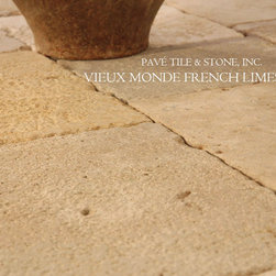 Vieux Monde French Limestone - Working with one of the best French Limestone quarries in France, using the latest technology and most advanced techniques, Pavé Tile & Stone, Inc.'s quarries age, patina, chisel, brush or hone this historic stone. The colors of French Limestone, as seen all over France, are soft grays, creams, whites and golds.  As your direct source, call François at 800.239.6437 for highly competitive quotes shipped directly to your site from France.