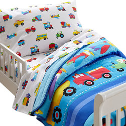 Wildkin - Olive Trains, Planes, Trucks Toddler Comforter - Trains, Planes & Trucks is an Olive Kids classic! This set includes one comforter/quilt featuring a row of airplanes, assorted trucks and a train chugging along. All the elements are outline stitched.The back of the comforter is a solid blue.