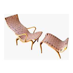 Mid-Century Modern Chaise Lounge Chair & Ottoman by Bruno Mathsson - This exquisite chair and ottoman was designed by Bruno Mathsson in the 1930's. The curvaceous bent wood design spans the gulf between furniture and sculpture. Mathsson is considered one of the most important Swedish architects and designers of the 20th Century. Image © copyright Eclectisaurus Inc.