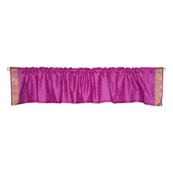 Indian Selections - Pair of Violet Red Rod Pocket Top It Off Handmade Sari Valance, 60 X 20 In. - Size of each Valance: 60 Inches wide X 20 Inches drop. Sizing Note: The valance has a seam in the middle to allow for the wider length