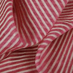 Striscia Sheer Stripe Drapery Fabric in Light Pink - Striscia Sheer Stripe Drapery Fabric in Light Pink is a brightly hued drapery fabric with a small scale stripe pattern. Ideal for window treatments or canopies, this contemporary fabric has a great quality and price! Made from a blend of 80% linen and 20% cotton. Passes 3,000 double rubs. Cleaning code: S. Width: 59″